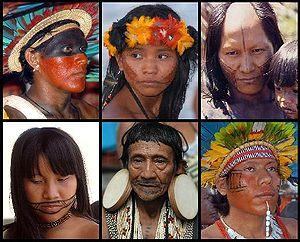 Compilation of pictures of Native Brazilians from the tribes Assurini, Tapirajé, Kaiapó, Kapirapé, Rikbaktsa and Bororo-Boe