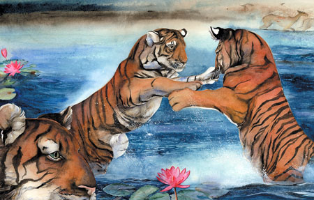 tigers-fight-painting